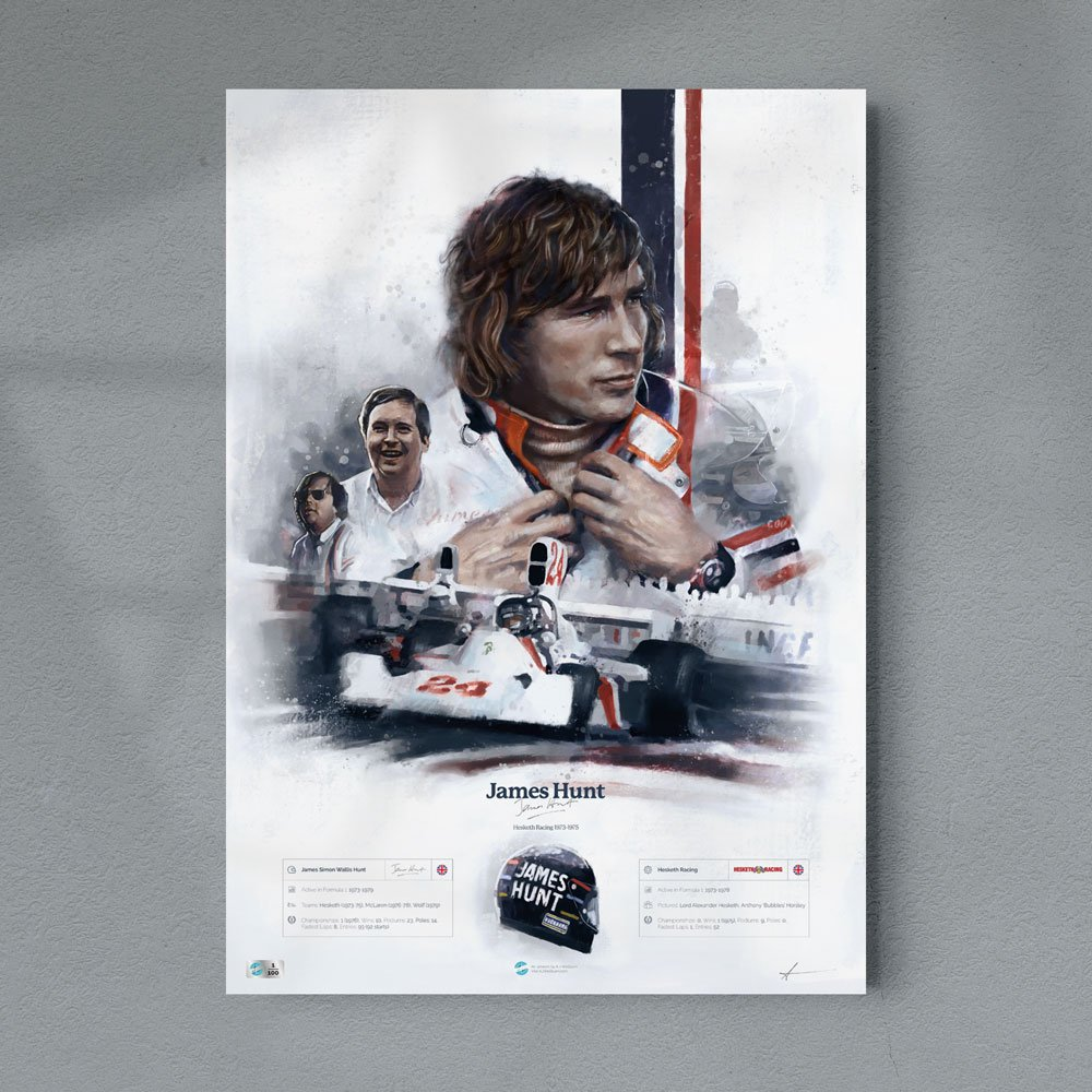 James Hunt Hesketh Racing Formula 1 Wall Art F1 Poster