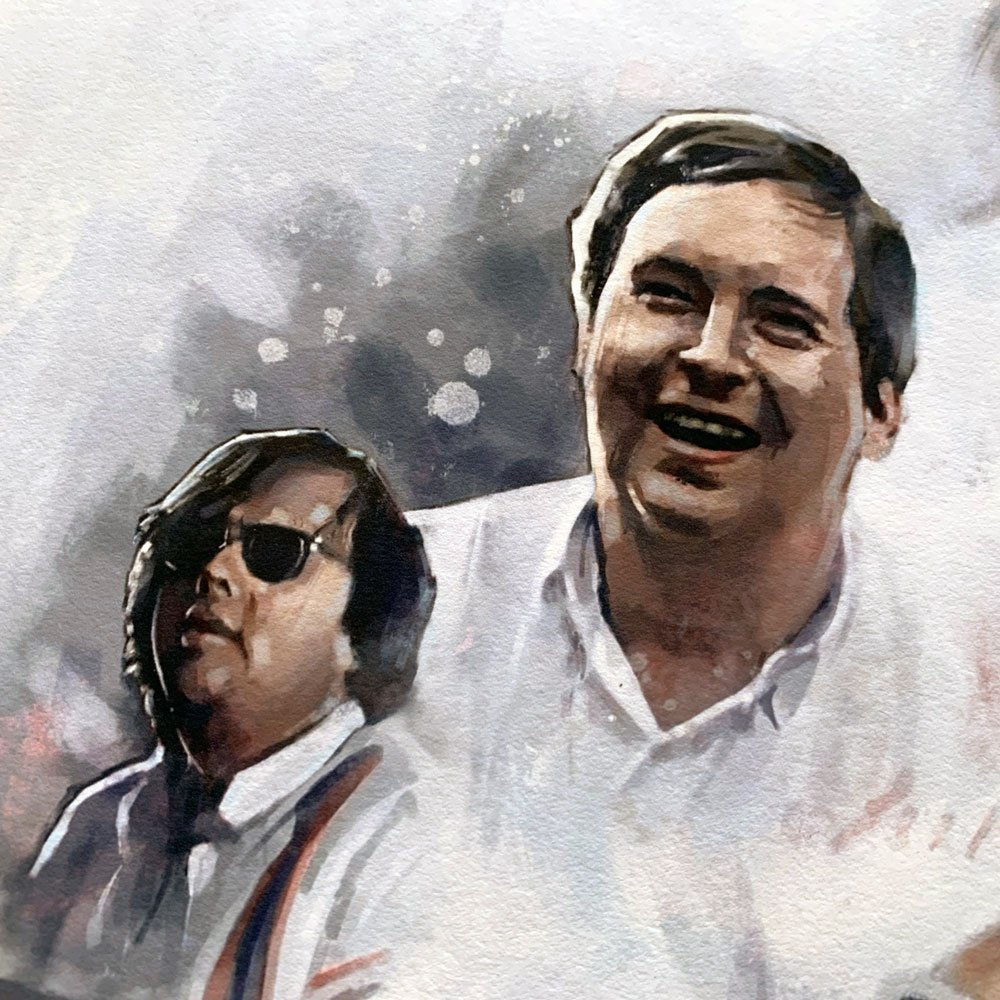 Detail of two portraits from Hesketh Racing Team