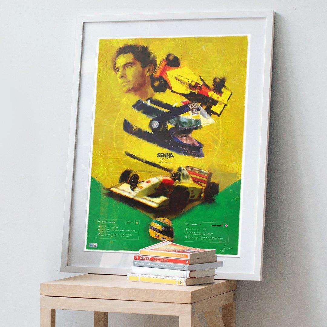 Ayrton Senna poster in a frame