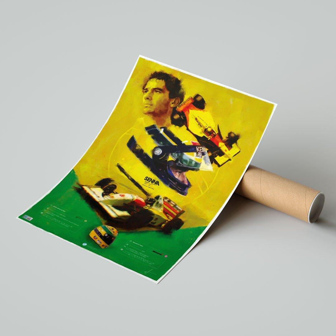 Ayrton Senna poster with tube