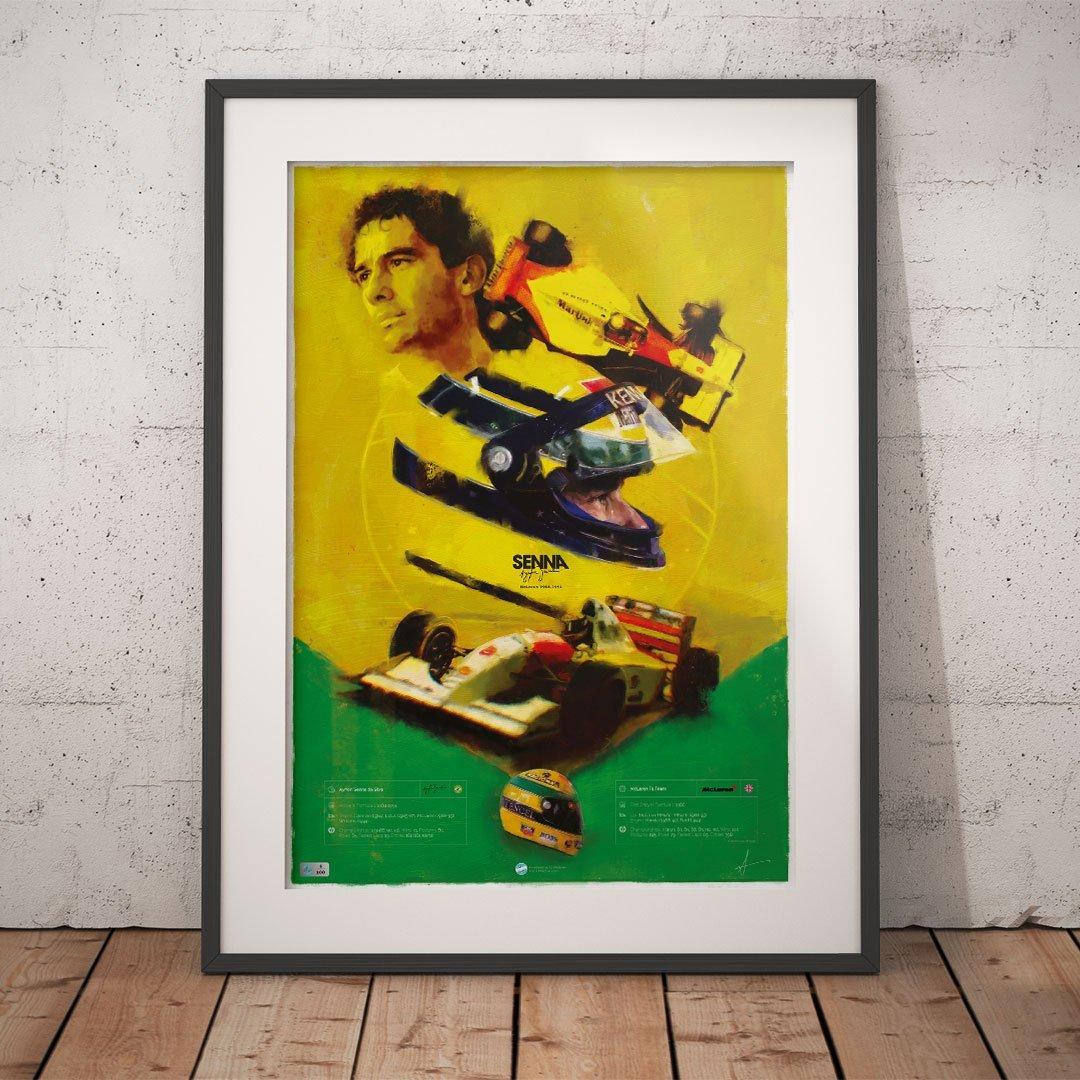 Ayrton Senna poster framed