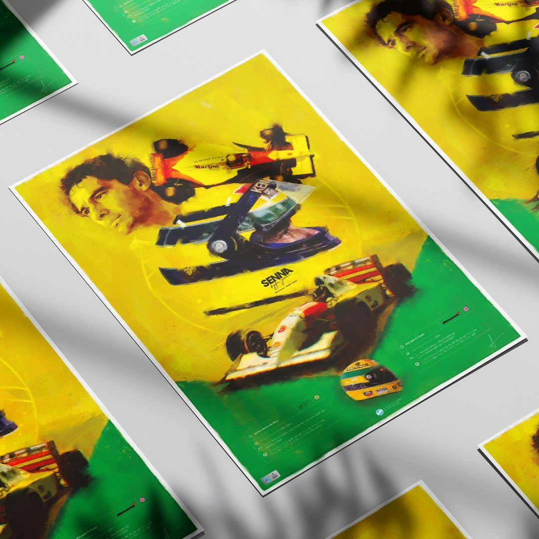 Ayrton Senna poster on tabletop