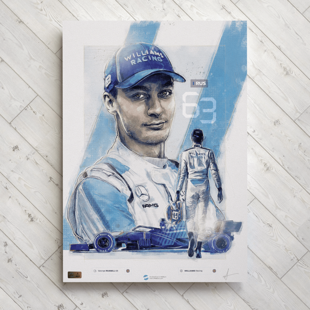 George Russell F1 Poster