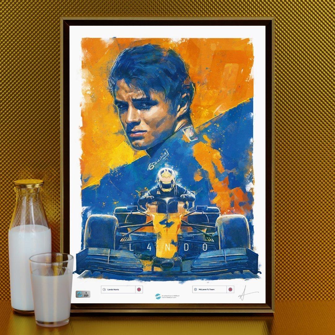 Gold Lando Norris F1 Poster